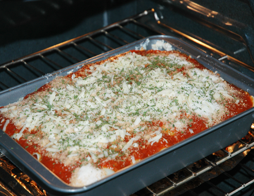 lasagna in oven