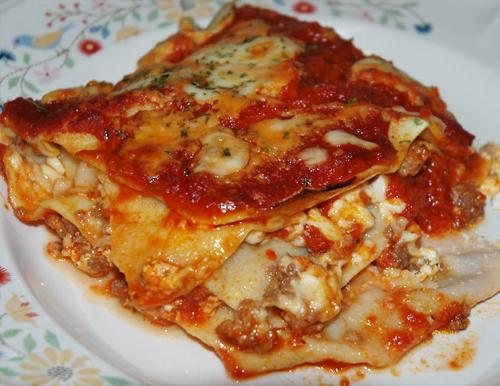 messy lasagna slice