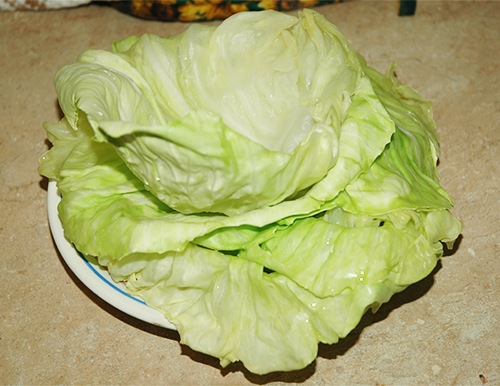 removed cabbage leaves