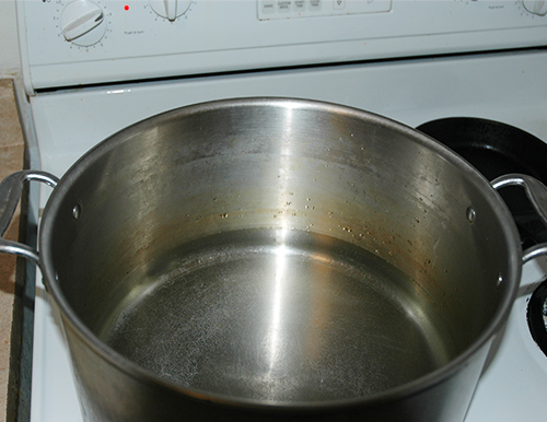 warm water to a simmer
