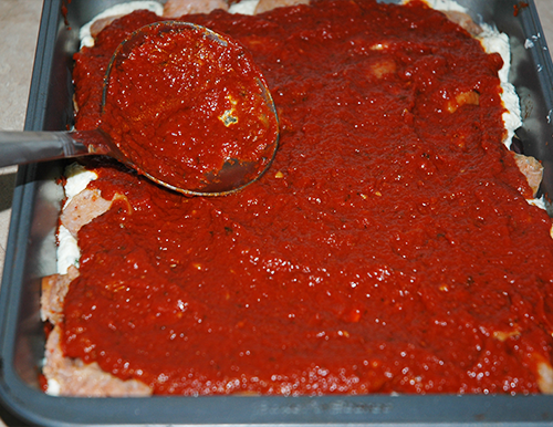 first layer of sauce