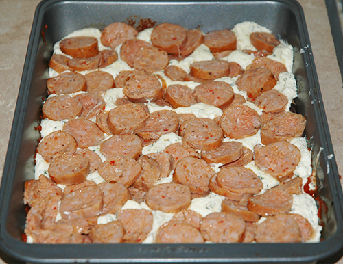 first layer of sausage
