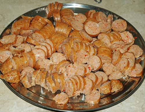thinly sliced sausage