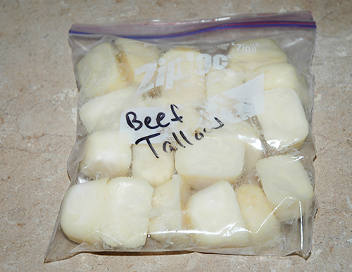 beef tallow cubes in bag